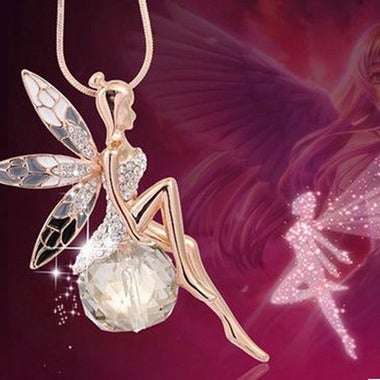 Stunning Exquisite Little Fairy On Genuine Clear Crystal Ball Pendant Necklace