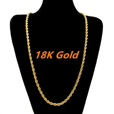 18k Gold  Plated Long Chain Necklace Men Jewelry Brand Gothic Gold Color Male Ne
