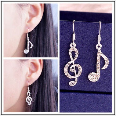 2017 Hot Elegant Fashion Women Silver Crystal Rhinestone Music Ear Stud Earrings