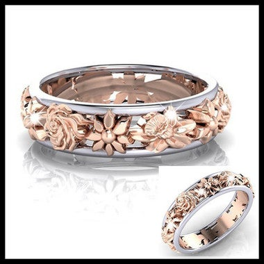 Wedding Engagement Promise Ring Women's Floral Ring 18K Rose Gold Filled Vine Fl