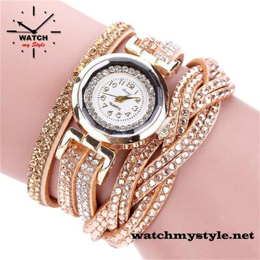 Enchanting Multi-Band Watches with Rhinestones