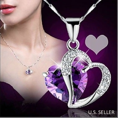 Womens Heart Crystal Rhinestone Silver Chain Pendant Necklace 7 Colors Available