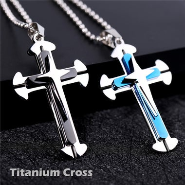 Titanium Classic Cross Necklace Come with Chain