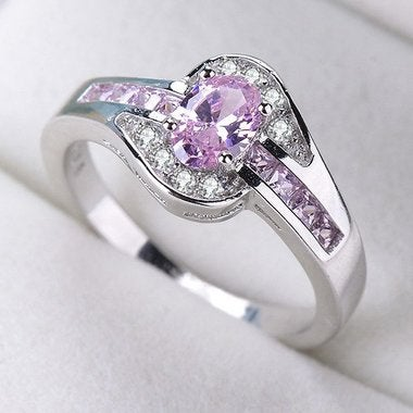 Women Halo Wedding Pink Ring