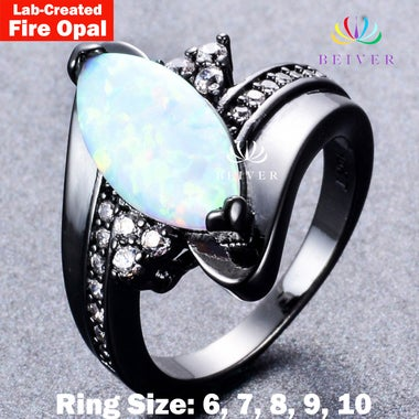 Luxury 2.0 CTTW Lab-Created Oval Fire Opal Ring in 18K Black Gold Filled