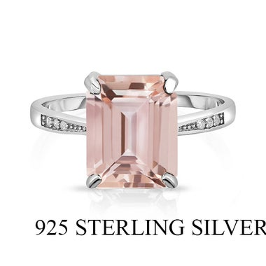 Amazing UnVVue .925 Sterling Silver Ring W/Lab Created Morganite stone