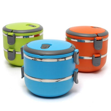 2-Layer Stainless Steel Portable Insulated Thermal Lunch Box Bento Food Containe