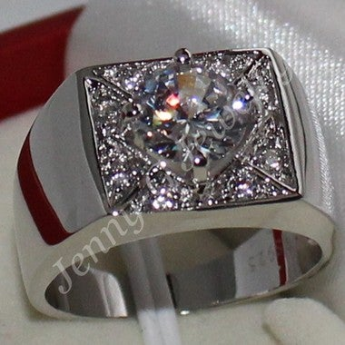Gorgeous Women Men White Princess Diamonique wedding ring