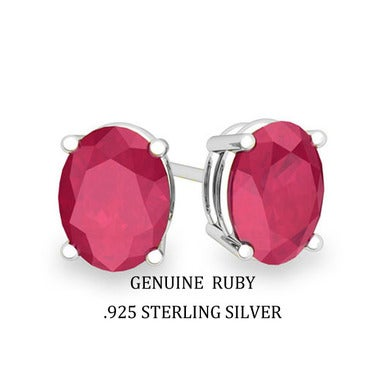2.00 CTTW .925 Sterling Silver Genuine Ruby Stud Earings