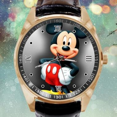 Mickey Mouse Image Custom Leather Band Quartz Sport Analogue Wrist Watch Best Gi