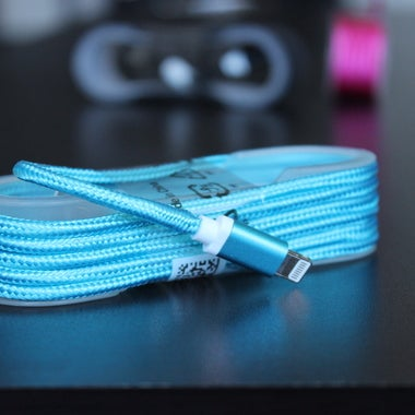 BLUE 5 ft iPhone 7, 7 Plus, 6, 6s, 6/6s Plus, 5, 5s, 5c USB Charger Cable Braide
