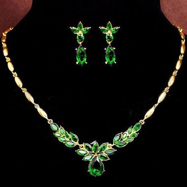Classic Genuine AAAAA  Zircon Green Olive Branch Leaves Necklace and Earring Set