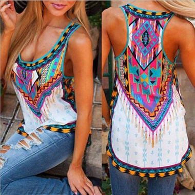 Vintage Floral Women Lady Casual Tank Tops Blouse Tee Sleeveless Shirt US S-5XL