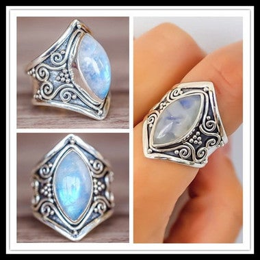 Hot Selling Vintage Boho Jewelry  18K White Gold Plated Natural Moon Stone Ring