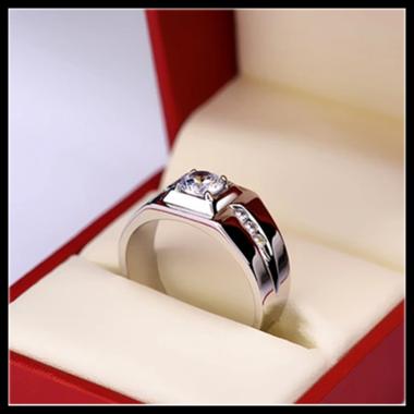 Men Silver Platinum Plated Ring Fashion Bands Wedding Ring