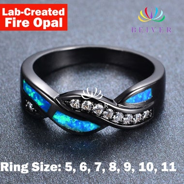 2.0 cttw Lab-Created Fire Opal Ring in 18K Black Gold Plated