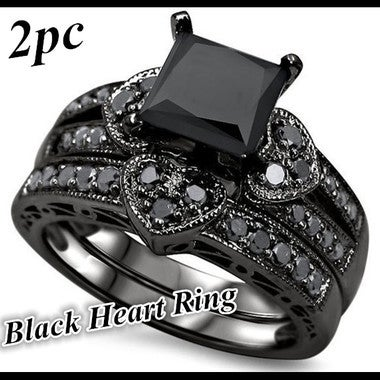 New Luxury 2pc Black CZ Heart Ring