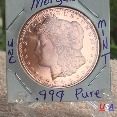 DONT MISS OUT ****1 OZ 999 PURE MORGAN ROUND  VERY CLEAR  on  Coins are uncircu