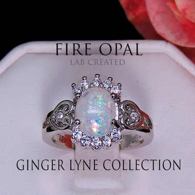 Neve Oval Shape Lab Created Fire Opal with Clear Accents Ring - Ginger Lyne Coll