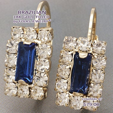6.0 Ctw Blue Sapphire Baguette Cut, Gold Filled Earrings Leverback
