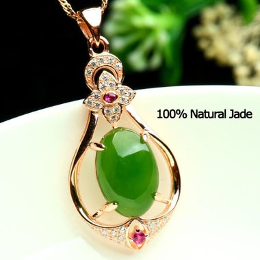 Luxury 100% Natural Jade Rose Necklace