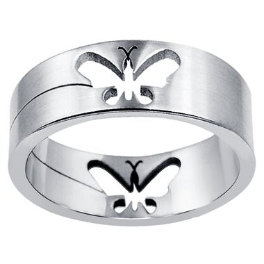 Orchid Jewelry Men's Stainless Steel High Polished Butterfly Band Ring , Size #