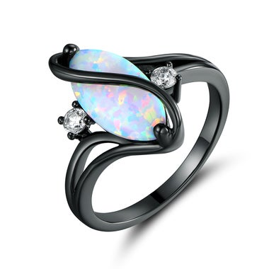 Black Rhodium Plated Cubic zirconia & White Fire Opal Ring