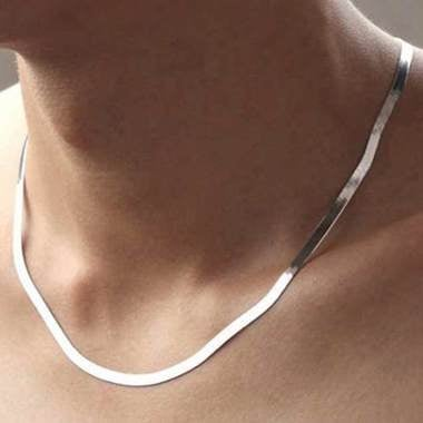 14K White Gold Filled Solid Herringbone Flat Necklace 18