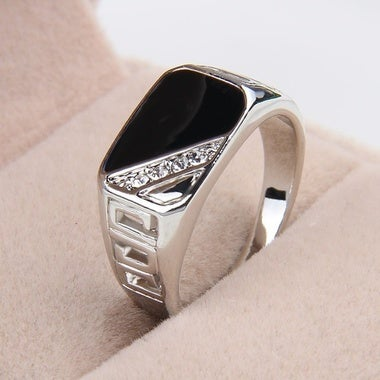 Size 7-12 Men's Rings Vintage Titanium Hollow Ring Crystal Finger Ring