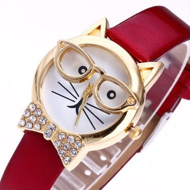 British wind quality cartoon student watch cat glasses watch simple belt quartz