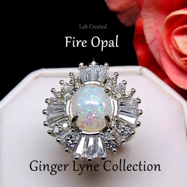 Premier Stunning Lab Created Fire Opal Baguette Ring - Ginger Lyne Collection