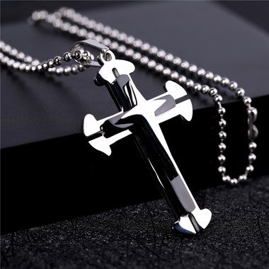 Titanium cross pendant necklace classic lightning cross design