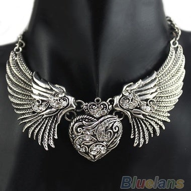 Hot Rhinestone Angel Wings Collar Chain Necklaces Women Dresses, Dress, Top Neck