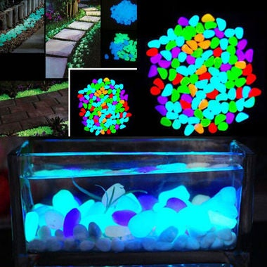 20pcs/Bag Mix of Glowing Artificial Pebbles Stones | Walkway, Aquarium, Garden D