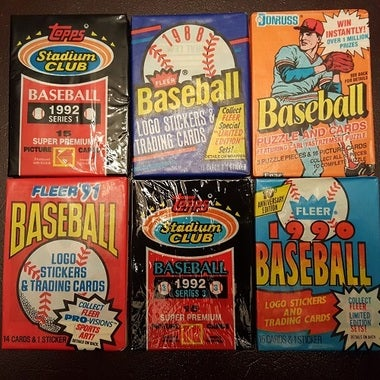 Mixed Baseball Card Sealed Wax Pack Lot of 6 ***25+ Years Old Sealed*** Rookie C