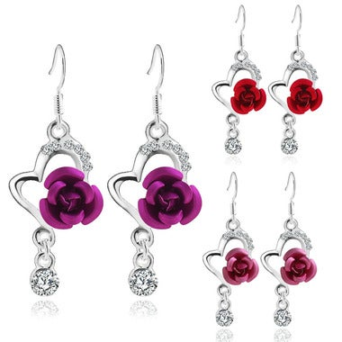 Chic and Lovely Heart and  Rose crystal accented Earrings Jewelry