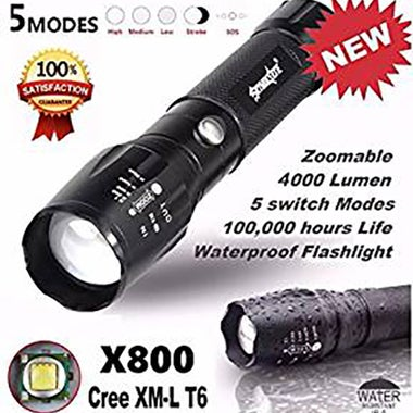 Flashlight Hiking Hunting Waterproof Durable Bright 3000Lm 5-Mode Light Torch