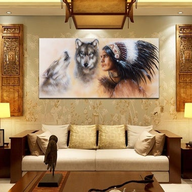 Native American Pattern Canvas Print Oil Painting Wall Picture Art Mural (No Fra