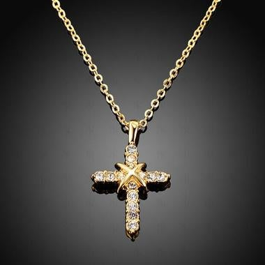 Modernist Manual Mosaic AAA zircon Cross Pendant Necklace In Yellow Gold Filled