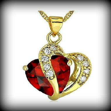 Red Crystal Double Heart Gold Plated Necklace