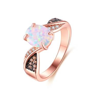 Rose Gold Plated with Sterling Silver White Fire Opal & Champagne Swarovski Crys