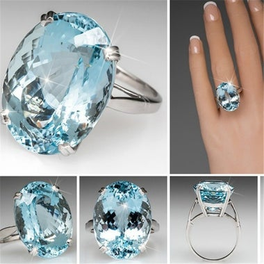 6ct White Gold Plated AAAA CZ Blue Ring
