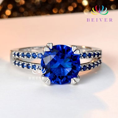 Luxury 3.0 cttw Blue CZ Ring in White Gold Filled