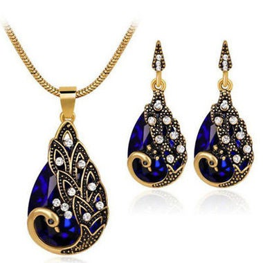 Classic Genuine Waterdrop AAA Zircon Peacock Pendant Necklace And Earring Set