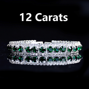 Green Crystal 12 Carats AAA Zircon Tennis Bracelet Wedding Chain