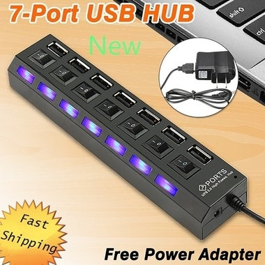 Happy New Year! 7 Port USB Hub 2.0 Power Adapter Cable Splitter For PC Laptop Wi