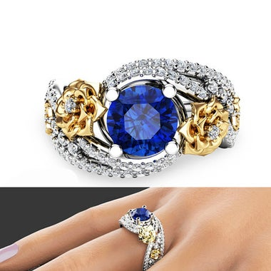 Women's Wedding Engagement Floral Ring Big round cz 6 ct Zircon Ring 4 Prong Set