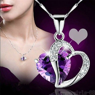 Divine Double Heart Hypoallergenic Pendant Necklace on Mesmerizing CZ Crystals