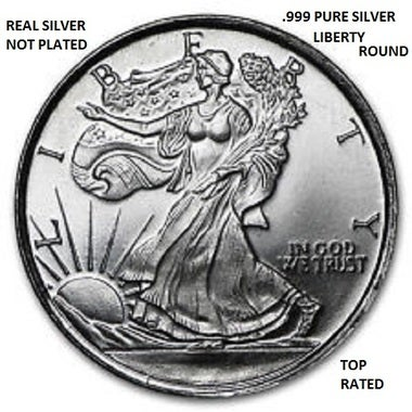 THIS IS REAL!!!!! FINE QUALITY LIBERTY SILVER ROUND REAL .999 PURE SILVER ROUND