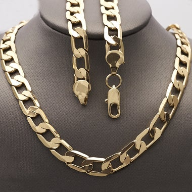 Thick 9mm Cuban Link Chain 28 Inches long, Gold Filled (FJ873901)